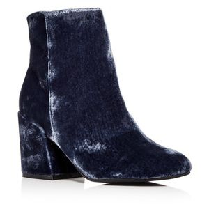Crushed velvet embroidered booties